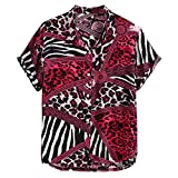 Rabbiter Cuello de Solapa con Estampado de Leopardo de Manga Corta Camisas Henley Ajustadas para Hombres (Rojo, XXXL)