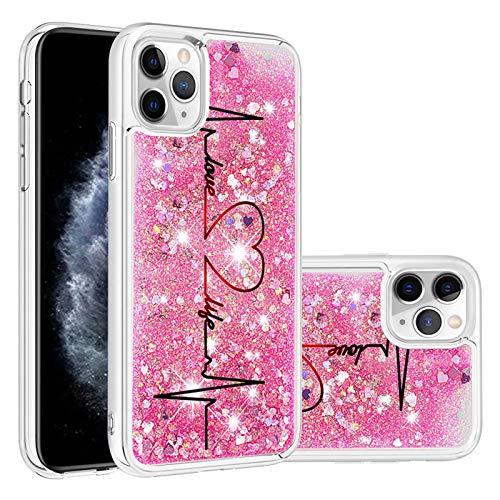 Miagon Flüssig Hülle für iPhone 12 Mini,Glitzer Treibsand Handyhülle Glitter Quicksand Schutzhülle Bumper Case Cover,Herz