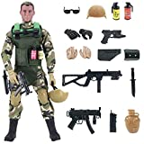 Liberty Imports 12-Inch Special Forces Military Action Figure Army Man Toy Soldier - 30 Articulation Points and 15 Weapons and Accessories (Army)