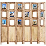 Rose Home Fashion RHF 5.6 Ft Tall Wood Room Divider,Folding Room Dividers,Screens Panel Divider with Rotating Picture Frames,Privacy Screens (6 Panel, Cream)