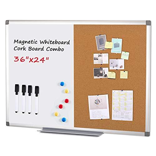 Swansea Whiteboard Magnettafel und Pinnwand Kork mit Aluminiumrahmen für Wohnung, Büro, Küche und Schule, 90X60cm
