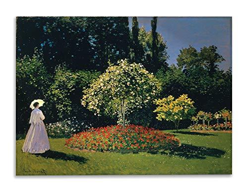 Giallobus - Schilderij - Claude Monet - Vrouw en tuin - bedrukking op plexiglas acryl - klaar om op te hangen - Diverse formaten - 100x70 cm