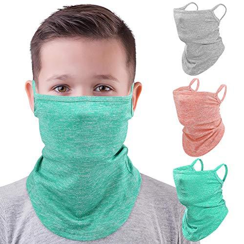 MoKo Pañuelos de Cabeza Elastica,[3Piezas] Polainas Transpirables para el Cuello con Orejeras, Pasamontañas para Anti-UV,A Prueba de Viento y Polvo al Aire Libre para Niños, Gris + Verde + Rosa
