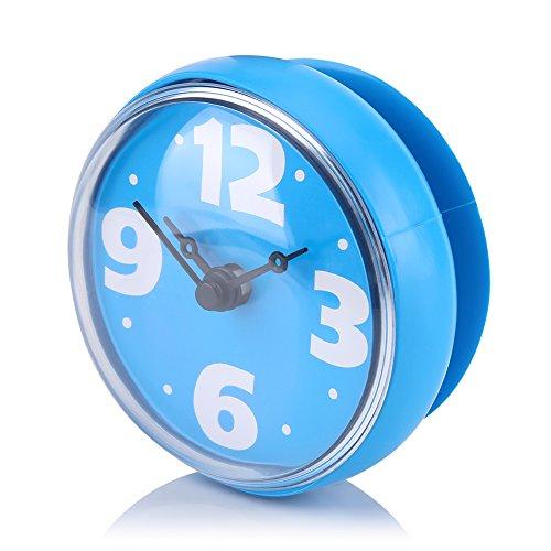 Mumusuki Impermeabile Aspirazione a Parete Forma Rotonda Specchio Mini Doccia Ventosa Orologio Timer Accessori per Il Bagno Forme di Cartone Animato(Blu)