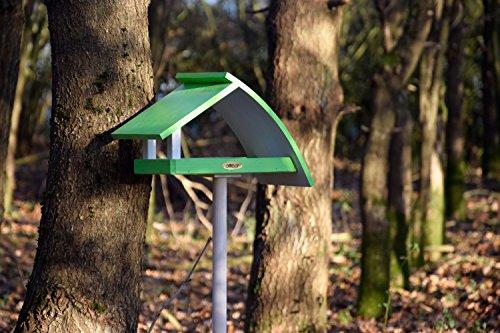 """Luxus-Vogelhaus 31014e Design Vogelhaus """"New Wave"""" aus Holz (Kiefer) für Garten, Balkon, mit Ständer, Schrägdach, Farbe: weiߟ-grün – Vogelhäuschen Vogel-Futterhaus - 5"""