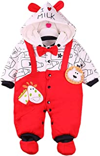 TZOU Newborn Toddler Baby Boys Girls Romper Warm Cotton Hooded Jumpsuit Clothes Outfit Red Strap Lion Coat 3M (59cm Recomm...