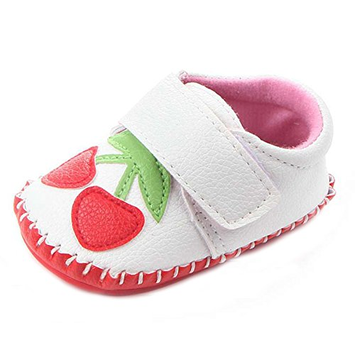 Lidiano Baby Non Slip Rubber Sole Cartoon Walking Slippers Crib Shoes Infant/Toddler (6-12 Months, White Cherry)