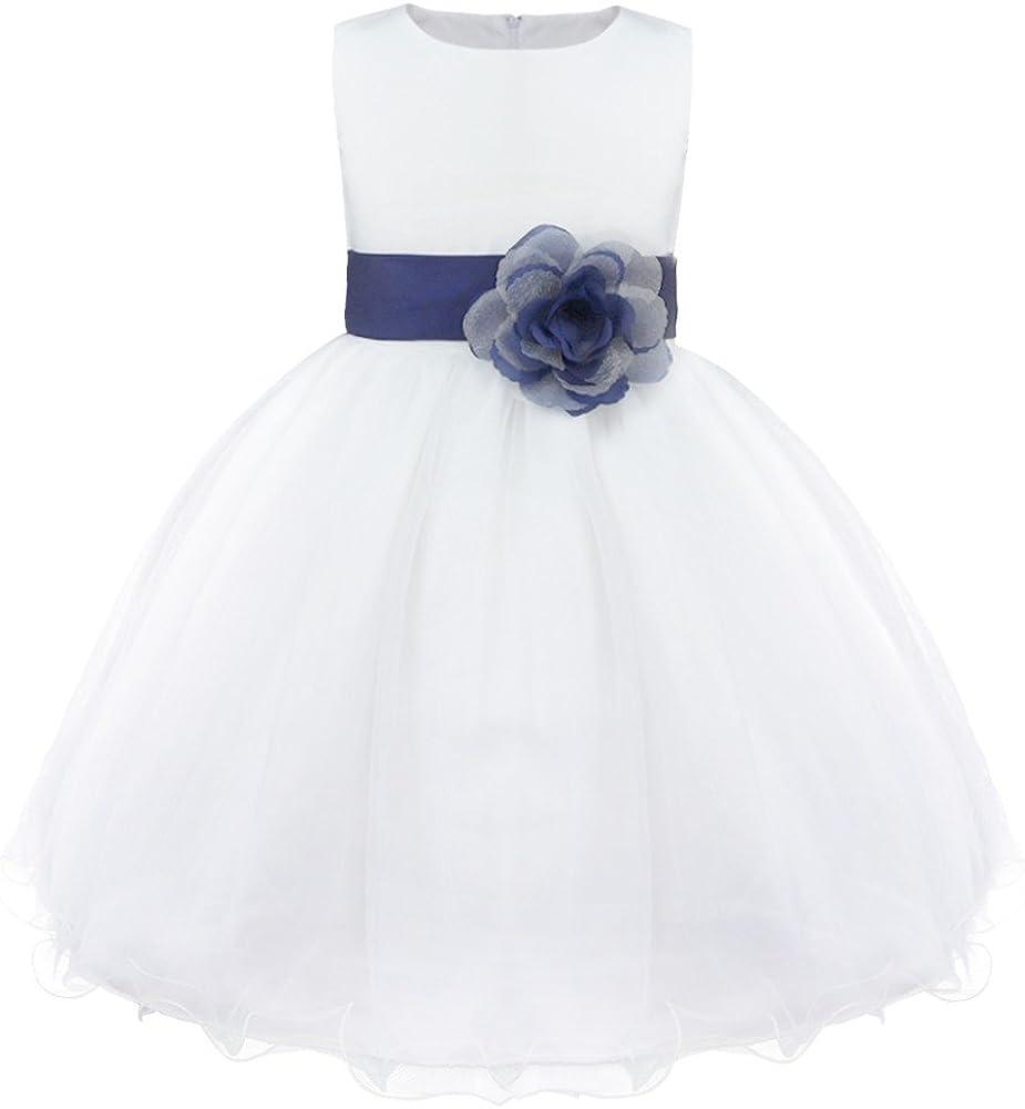 Agoky Kids Girls Sleeveless Wedding Bridesmaid Mesh Tutu Flower Dress with Big Bowknot