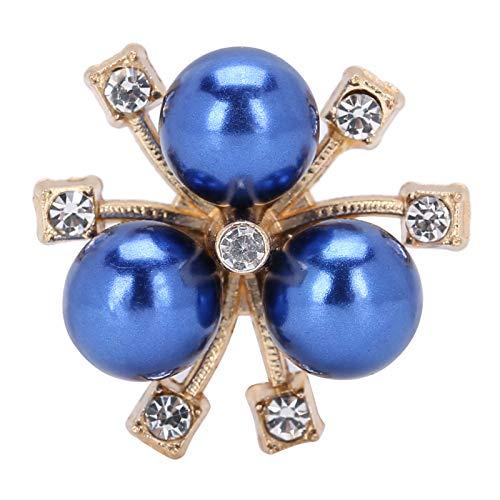Flor de decoración de diamantes de imitación, diamantes de imitación de flores de perlas, broche de brazalete para ropa DIY, flor de perla de color para sombreros para bolsos(blue)