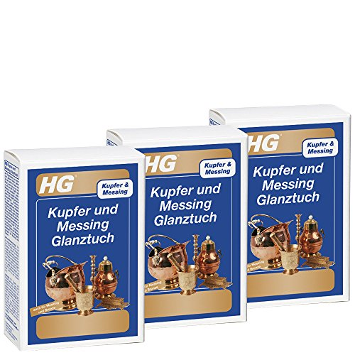 HG Kupfer und Messing Glanztuch, 3er pack (3x 1 st.) – ein Kupferglanz-Tuch, das Gegenstände aus Kupfer und Messing wieder strahlen lässt