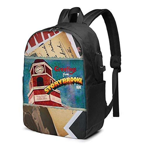 HOIH Grüße aus der Storybrooke Postkarte Trendy Travel USB Rucksack, 17 Zoll Computer Business Rucksäcke Studentenrucksack Casual Hiking Daypack