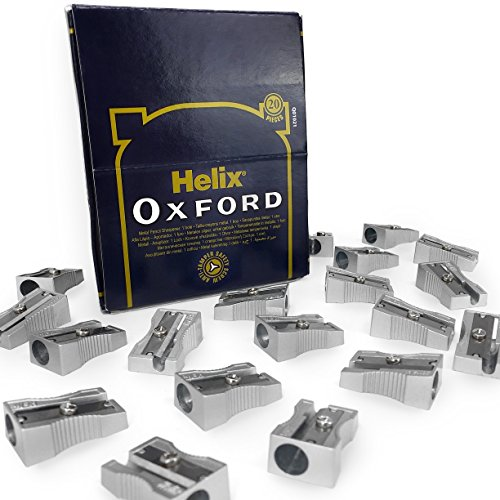 Helix Oxford Metal Pencil Sharpeners – Single Hole – Display Pack of 20