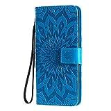 KKEIKO Hülle für Xiaomi Redmi Note 8T, PU Leder Brieftasche Schutzhülle Klapphülle, Sun Blumen Design Stoßfest Handyhülle für Xiaomi Redmi Note 8T - Blau