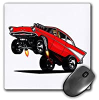 3dRose Mouse Pad Illustration of A Drag Racing 57 Tri Five in A Wheelie at The Strip - 8 by 8-Inches (mp_173483_1) [並行輸入品]