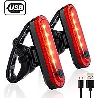 Volcano Eye Luz Trasera de Bicicleta (2 pcs), Luz de Destello de Seguridad USB Recargable Ultra Brillante LED Rojo Fácil de Instalar de Alta Intensidad para Bici de Carretera, Cascos