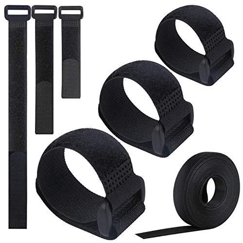 VoJoPi 25 Stück Klett Kabelbinder, Wiederverwendbare Nylon Kabel Klettband mit Schnallen, Kabelklett Kabelbinder Klettverschluss für Hause und Büro, 3 verschiedene Längen - Schwarz
