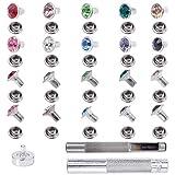 NBEADS 200 juegos de remaches de diamantes de imitación de latón, remaches de cristal de latón con piezas kit de herramientas de ajuste de remaches coloridos para manualidades de cuero y reparación