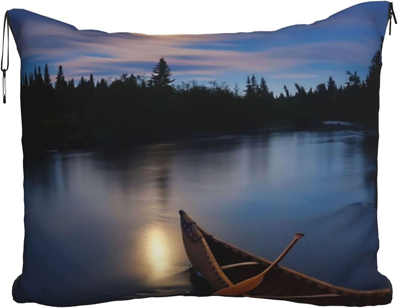 Moonlit Canoe Allagash River Printed Soft Travel Shipping included Blanket Japan Maker New Pillow
