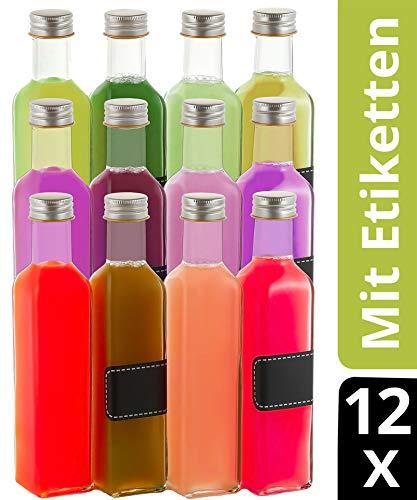 12 Glasflaschen 250ml Eckig - Schraubverschluss - 12 Etiketten mit Stift - Leere Flaschen