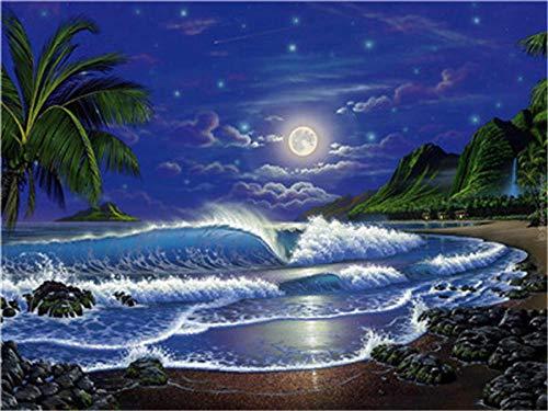 Omlknogf Pintura por Número de Kits DIY Pintura al óleo para Adultos Niños para Adultos Principiantes,Playa de Surf (40 x 50 cm)