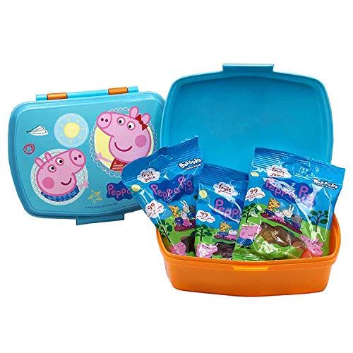 JuniorToys Peppa Pig Brotdose Lunchbox mit 3 Beuteln Fruchtgummi Peppa Wutz
