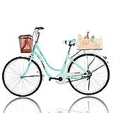 Beach Cruiser Bikes 26 inch Classic Retro Bicycles for Women Comfortable Commuter Bike for Leisure Picnics&Shopping,Road Bike,Women's Seaside Travel Bicycle with Baskets&Rear Racks (B)