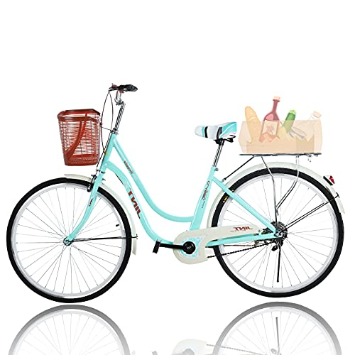 Beach Cruiser Bikes 26 inch Classic Retro Bicycles for Women Comfortable Commuter Bike for Leisure Picnics&Shopping,Road Bike,Women's Seaside Travel Bicycle with Baskets&Rear Racks