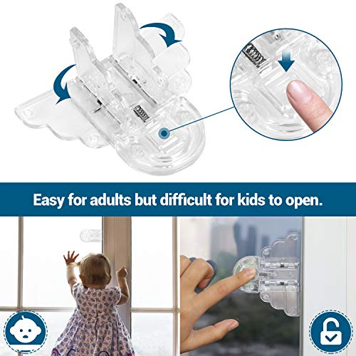 Clear Sliding Door Lock for Child (4 Pack) with Extra Adhesive Baby Proof Glass Window Safety Locks Transparent Kid Sliding Closet Door Lock Latch No Screws or Drills
