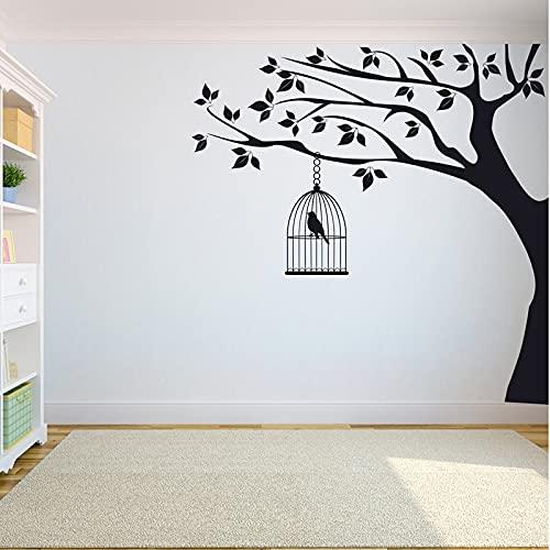 Pegatinas de pared de árboles Dormitorio Árbol de la vida La raíz del árbol de la vida es una pegatina de pájaro Pegatina de jaula de pájaros en un árbol grande A9 42X42cm