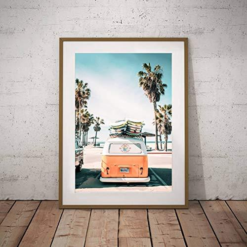 EBONP Leinwand Gemälde Leinwandbild Poster Palmen Drucken Strand Wandkunst Sommer Dekor, VW Bus Surfer Van Leinwand Malerei Wandbild Coastal Art Home Decor-20x28inch