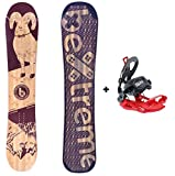 Bextreme Pack Tabla Snowboard Mujer/Chica/niño Spark 145cm con Fijaciones SP Private Medida 39-42 EU. Snow All Mountain polivalente para Freestyle y Freeride.