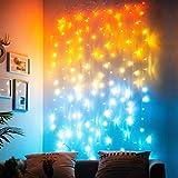 Cortina de Luces Guirnaldas Luces Interior Habitacion Decorativas Guirnaldas Luces Cadena de Luces Led blanca Colores Oro naranja Azul para la Pared Dormitorio Habitación Mar Decoracion (180LED)