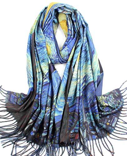 Women Soft Cashmere Feel Scarf Large Warm Scarves Winter Shawl Elegant Wrap Van Gogh's