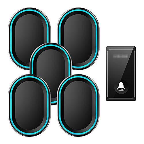 Waterdichte draadloze deurbel op afstand, 1 knopzender en 5 plug-in ontvangers met 58 geluidssignalen, volume op 4 niveaus en LED-lampje,Black