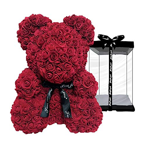 Rose Flower Bear - 10 Inches Tall - Over 200+ Flowers on Every Rose Bear - Perfect for Anniversary's, Birthdays, Bridal Showers, Mothers, Etc. - Clear Gift Box Included!