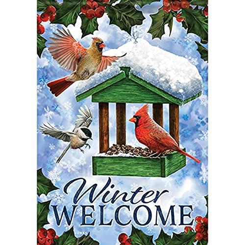 Carson 50084 Classic Garden Flag, Birdfeeder In Snow