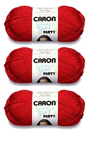 Caron H97PAR-15 Simply Soft Party Yarn - Rich Red Sparkle