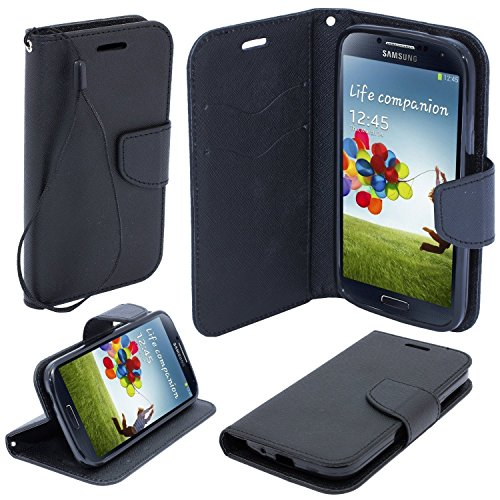 Markenlos Book CASE Fancy für XIAOMI Mi4 Cover Handy Tasche Flipcase Etui Buchform Kunststoff TPU Halterung für Kreditkarten (schwarz)