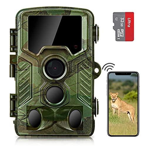 COOLIFE WiFi Bluetooth Wildkamera 4K 32 MP Abzugentfernung Bis 25 m Wildkamera mit Bewegungsmelder Nachtsicht 49pcs 850nm IR LEDs Jagdkamera mit 32GB Speicherkarte