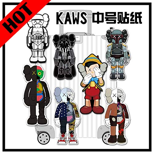 BAIMENG Luggage Stickers Medium Suitcase Stickers Tide Brand Doll Stickers Travel Suitcase Notebook Stickers