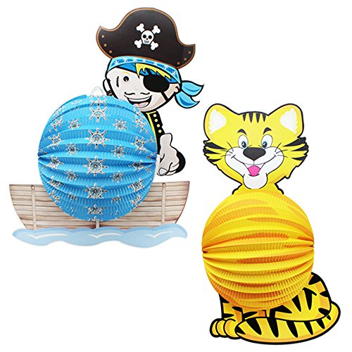 com-four® 2X Laterne mit Buntem Tiger und Pirat Motiv - Papierlaterne für Sankt Martin und Halloween - Martinslaterne für Kinder