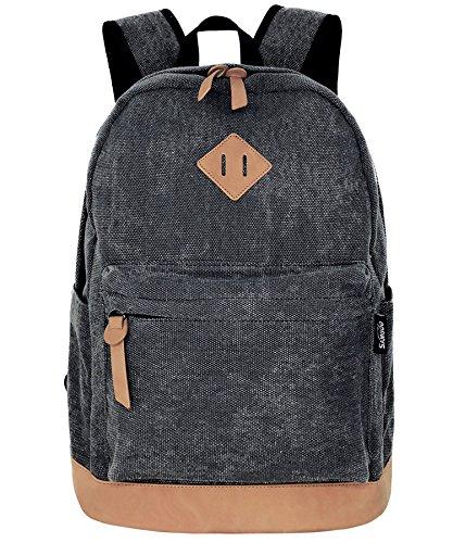 SAMGOO Unisex Rucksack Leinwand Rucksäcke Daypack mit Laptopfach Freizeitrucksack Schulrucksack (Schwarz Gewaschen)
