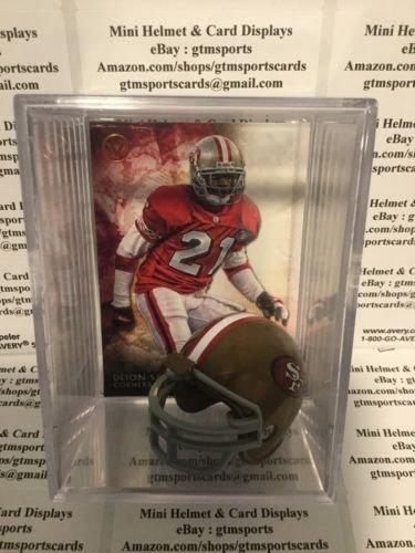 Deion Sanders San Francisco 49ers Mini Helmet Card Display Collectible HOF Auto Shadowbox Autograph