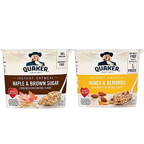 Quaker Instant Oatmeal Express Cups, Maple & Brown Sugar and Honey & Almond Variety Pack, 12 Count