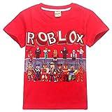 Roblox Camiseta Camisas de Vestir para niños y niñas. Mangas Cortas. Camisetas elásticas de Fibra de bambú. niños (Color : A02, Size : 140)