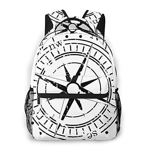 CVSANALA Multifuncional Casual Mochila,Blanco y negro de la vieja brújula, estilo grunge,Paquete de Hombro Doble Bolsa de Deporte de Viaje Computadoras Portátiles