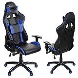 GIOSEDIO GSA048 Schwarz/Blau Ergonomisch Gaming PC Stuhl, Chefsessel mit Verstellbarer Rückenlehne und Armlehnen. Racing Bürostuhl Komfortabler Bürostuhl in sportlicher Racer Optik. (Schwarz/Blau)
