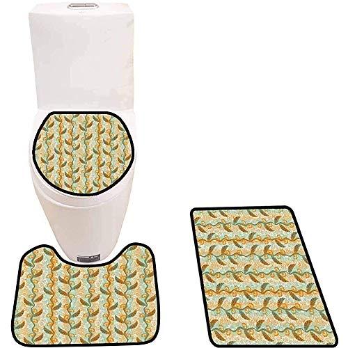 WEURIGEF Juego de Alfombrillas de baño de 3 Piezas Ramas con Forma de Remolino Alfombras de baño Suaves Antideslizantes para Ducha e Inodoro de Cocina
