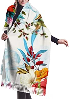 Vector Illustration Floral Seamless Isolated Yellow Long Large Warm Scarves Wrap Shawl Stole Classic Cashmere Feel Unisex Winter Scarf