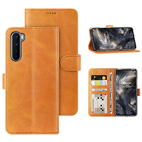 Foluu Oneplus Nord Case, Oneplus Nord 5G 2020 Case Cover, [Slim Fit] [Stand Feature] Flip Leather Wallet Case with Card Slot Magnetic Closure Bumper TPU for Oneplus Nord 5G 2020 (Yellow)